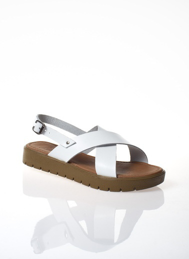 MODAGON Hakiki Deri Sandalet Terlik Beyaz
